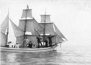 A 40 feet long boat rigged as a barque